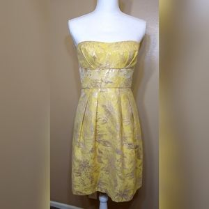 BCBG Gold Floral Mabel Strapless Dress Size 8